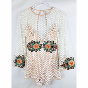 Indikah Embroidery Flower Play Suit w Bell Sleeves